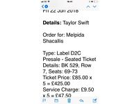 Taylor Swift Concert Tickets - London 22/6/18 sold at face value