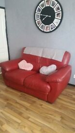 Red leather 2x2 seaters