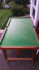 1/4 size Snooker Table with Cues and accessories (with top for Table Tennis)