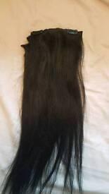 Very dark brown/black clip in real hair extensions