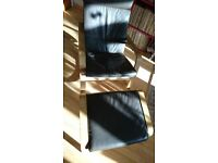 Poang Ikea Solid Wood/Oak Veneer Rocking Chair/Matching Footstool Real Leather Chocolate Brown Cover