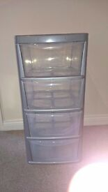 Silver - transparent plastic chest of drawers