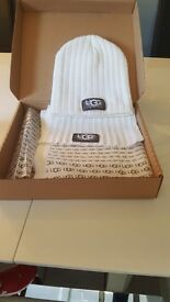 Genuine White UGG hat and scarf set