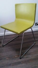 Lime Green leather dinning chairs x 4 Excellent condition with no scuffs. Purchased from Ikea