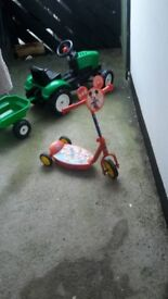 Kids tractor and trailer and mickey mouse scooter