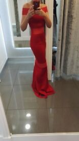 Red Carpet Affair Red Bardot Mesh Fishtail Maxi Dress