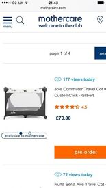 Joie baby travel cot ( used once for nephew sleepover )