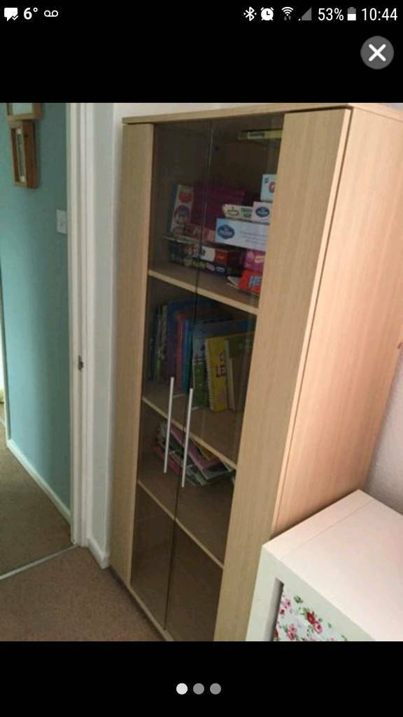 Wooden glass cabinet/bookcase