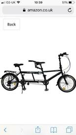 Folding tandem bike nearly new.