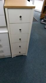 NEW Somerton 5 Drawer Chest In either White and Oak Effect or Putty and Oak Effect