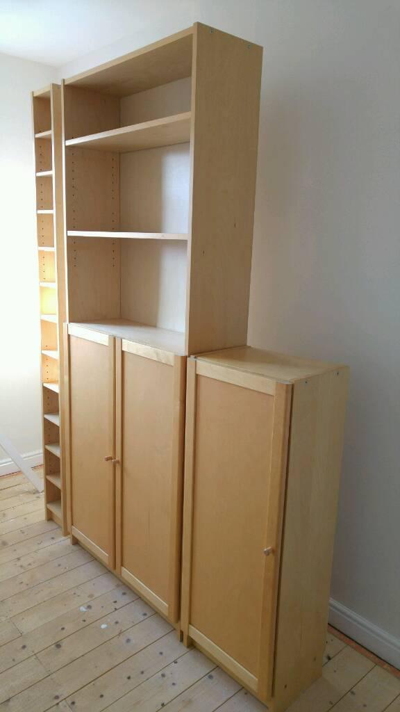 Ikea Billy Birch Veneer Bookcases And Cd Rack Shelves