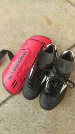 Child rugby boots and shinpads
