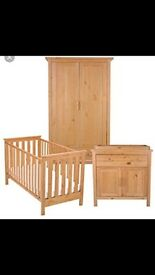 Cot bed, wardrobe and nappy changer