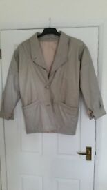 Womens Ladies Leather Jacket Biege Size 10