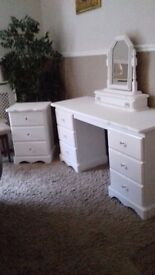 Dressing table and mirror and stool bedside cabinet