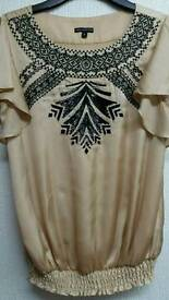 BEAUTIFUL LADIES GOLD BLOUSE WITH BEADS 8