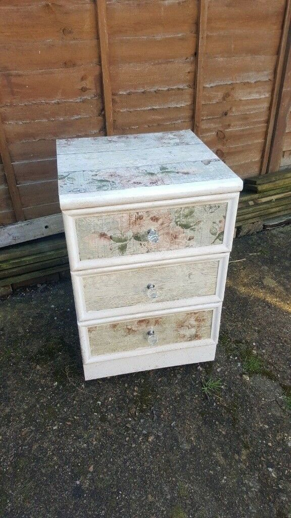 Solid bedside drawers 3 painted floral hallway storage