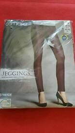 ESMARA JEGGINGS Stretch Leggings,Stylish Faux Leather Inserts Size M /40-42/14-16.