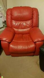 Red leather electric reclining chair