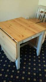 Solid wood winged Dining table with 4 chairs