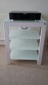 White 4 shelf hi fi rack for hi fi separates