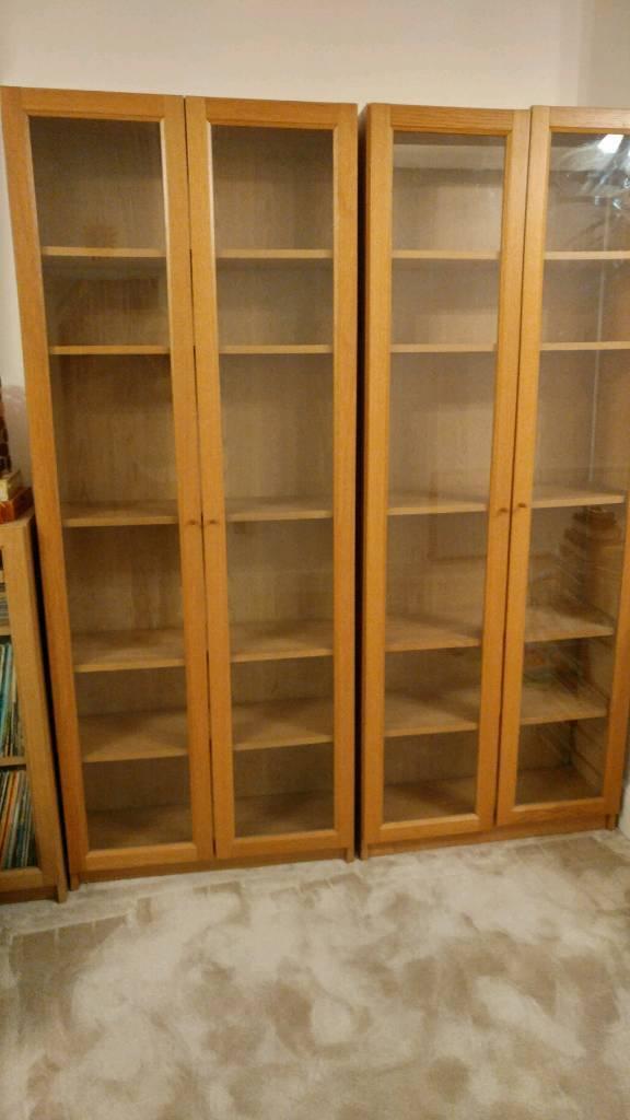 Gl Door Oak Effect Bookcases X 2