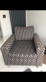 Grey and silver striped armchair