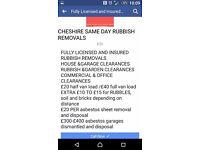 RUBBISH REMOVALS £20 HALF A VAN LOAD £40 FOR FULL VAN LOAD