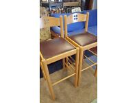Two Matching Tall Brown Vinyl Pine Chairs in Great Condition