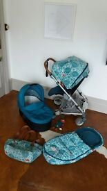 Urbo 2 buggy in limited edition Donna Wilson fox fabric with changing bag, footmuff, toy & carrycot