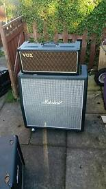 VOX AC30CCH VALVE HEAD AND MATSHALL 1960AX 4 BY 12 CAB WITH CELESTION GREEN BACKS