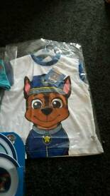 Paw patrol chase boys t-shirts and 3 piece plate set