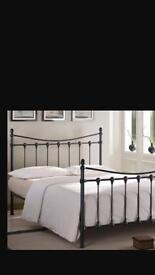 Metal black double bed frame and mattress