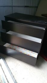 Chest of drawers, Black. 3 drawers.