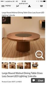 Round walnut dining table for sale