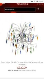 Multicoloured glass gem ceiling light