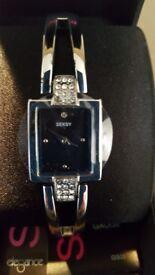 Beautiful ladies bracelet watch (SEKSY) - silver with diamante detail