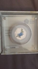 Peter Rabbit Silver Proof 2017 50p Coloured Coin