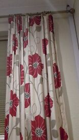 Two pairs of 221 x 221 pencil pleat curtains