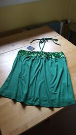 Gorgeous green & sequin halter neck tie top by F & F. Never worn. Bargain, £2