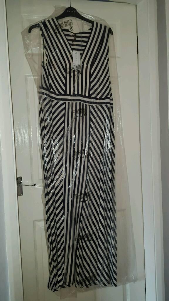 Brand New Evans Navy & White Maxi Dress