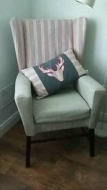 Wing back chair and matching cushion
