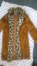 2 LADIES FAUX FUR JACKETS. SIZE 8- COULD FIT A SIZE 10