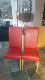 Red dinning room chairs