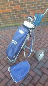 Men's golf trolley, few clubs & bag