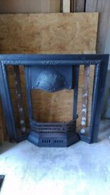 Cast iron fire place, grate, tile set, ash pan and chimney damper