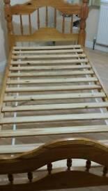 2 Single Pine Wood Bed Frames