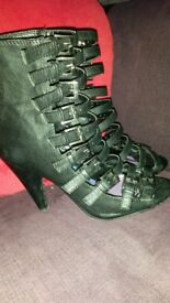 Heeled strappy ankle boots, size 36