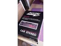 Car radio with cassette player removable front brand new in box never been used