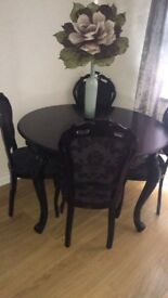 Solid wood French table & 4 chsirs